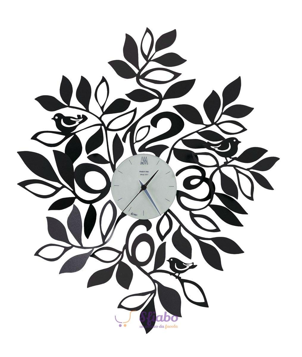 Orologio da parete arti e mestieri natura in ferro nero for Orologio da cucina design
