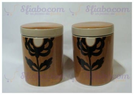 Set Due Barattoli Ceramica Rose & Tulipani
