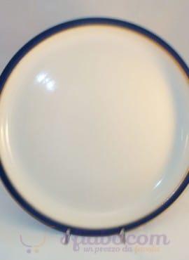 Piatto Gres Cuoci Carne Bianco Con Filo Azzurro