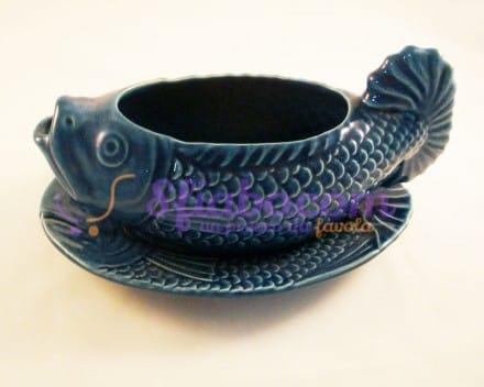 Salsiera Con Piattino Blu A Forma di Pesce