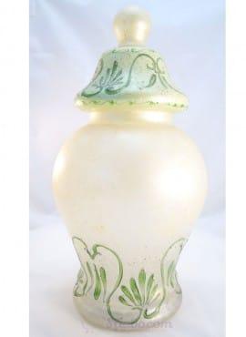 Vaso vetro decorato a mano sabbiato