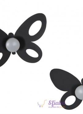 Set Ganci Appendi Abiti Farfalla Ferro Nero Butterfly Arti e Mestieri