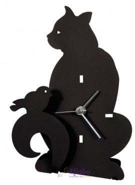 Orologio da Tavolo a Forma di Gatto Arti e Mestieri in ferro