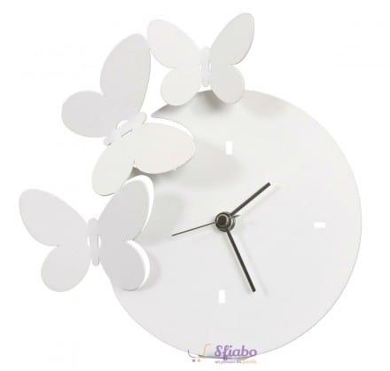 Orologio da tavolo farfalle arti e mestieri bianco in ferro for Orologio da muro farfalle