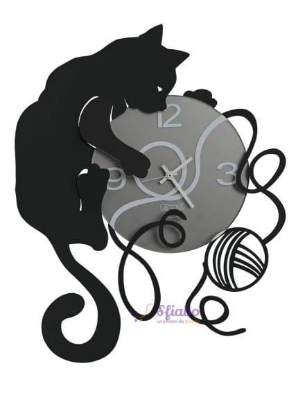 Orologio Arti e Mestieri Gatto con Gomitolo in Ferro Nero
